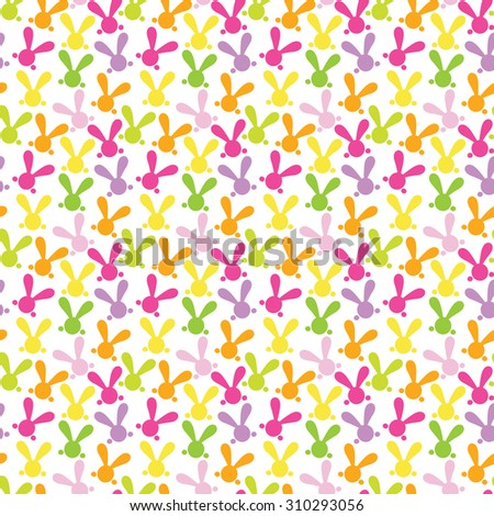 Colorful seamless pattern with easter bunny.  illustration for funny holiday design. Background for post or greeting card. Cute wallpaper with rabbits. Orange, green, yellow, pink, purple colors. - stock photo