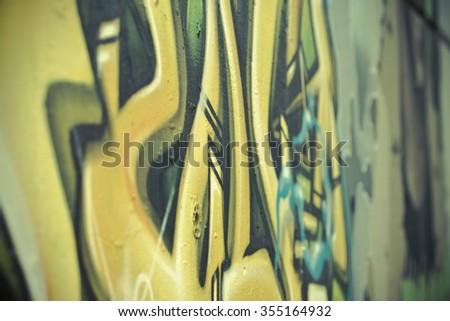 Colorful segment of a graffiti in Spain - stock photo