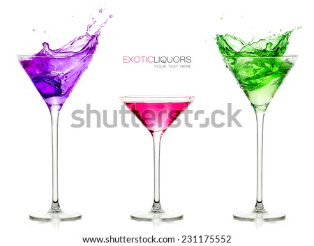 Colorful set of exotic liquors isolated on white with sample text. Glasses of spirits. Splash. Template design - stock photo