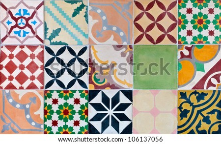 Colorful set of ornamental tiles from Portugal - stock photo