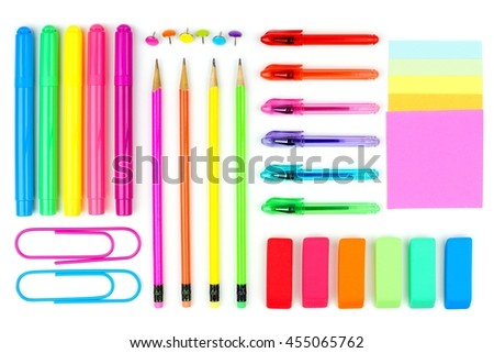 Colorful set of school supplies on a white background. Above view. - stock photo