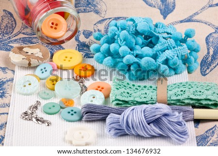 Colorful sewing accessories for spring home remodeling . - stock photo