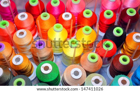 colorful sewing threads good for backgrounds and scrap-booking/Rainbow Colored Thread