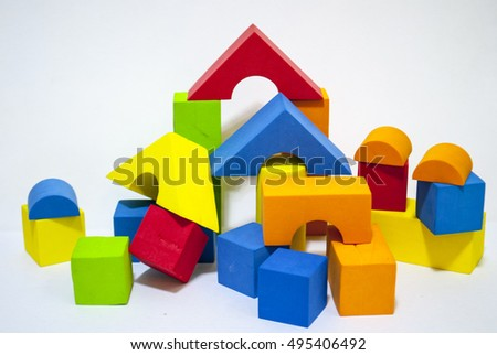 Colorful shapes, cubes on white background/ Dice