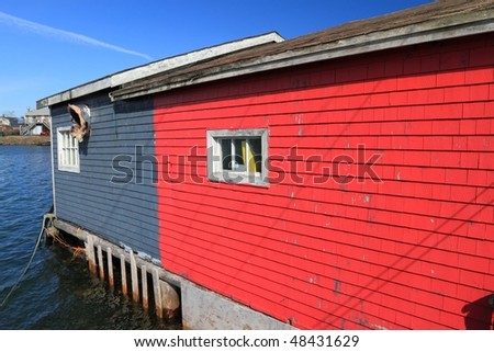 Colorful sheds on the waterfront - stock photo