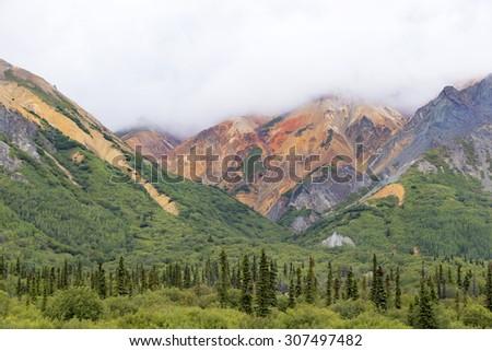 Colorful Sheep mountain in Alaska - stock photo
