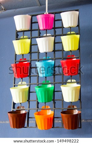 Colorful Shelves made from plastic pot - stock photo