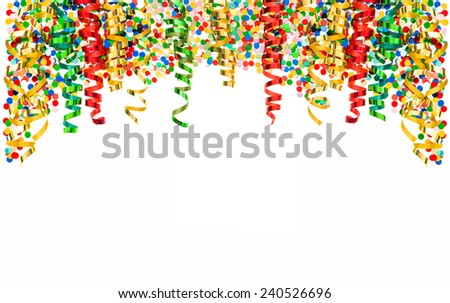colorful shiny streamer and confetti isolated on white background. banner with carnival party serpentine decoration