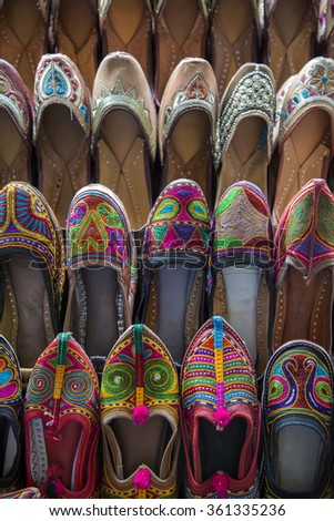 Colorful shoes on bazar in Mumbai, India - stock photo