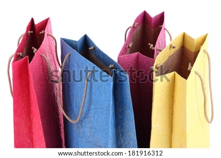 Colorful shopping bags, isolated on white