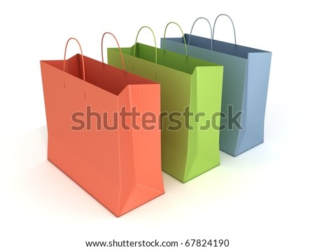 colorful shopping bags isolated over white background