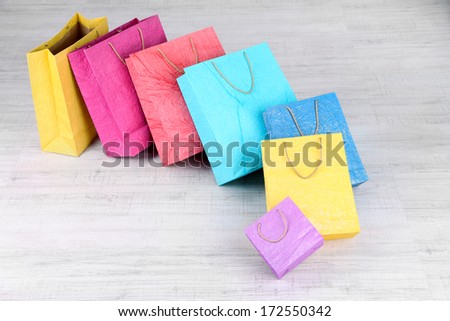 Colorful shopping bags,  on light background - stock photo