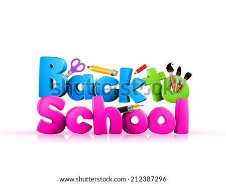 Colorful Sign of 3D Rendered Illustration of Back to School Word Title with School Items Over White Background