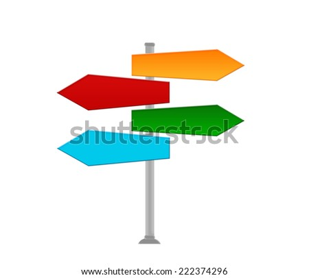 Colorful signal directions in blue, green, orange and red colors - stock photo