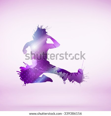 Colorful silhouette of dancing person on white background - stock photo