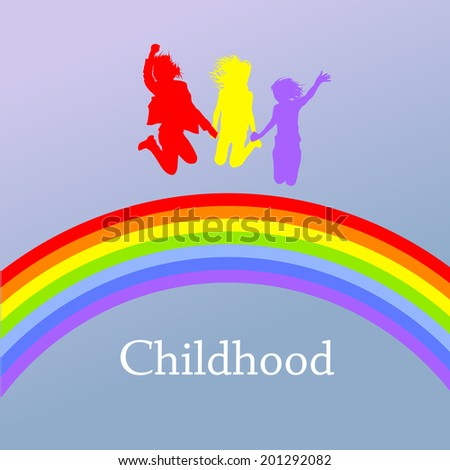 colorful silhouettes of people jumping over the rainbow. Raster - stock photo