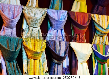 Colorful silk scarfs
