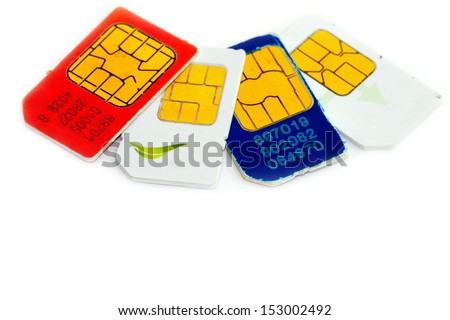 Colorful sim card on a white background - stock photo