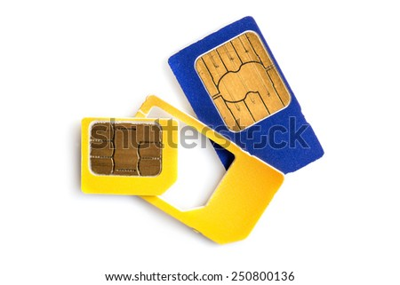 Colorful sim cards isolated on white background - stock photo