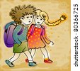 colorful sketch of kids going to school - for vector version see image no. 80256766 - stock photo