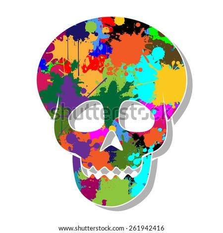 Colorful skulls - stock photo