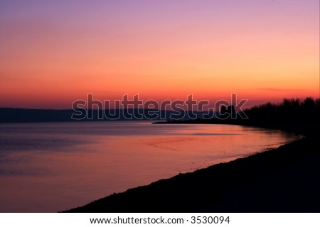 colorful sky after sunset at the sea