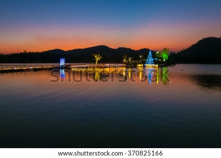 Colorful sky after sunset over the lake in Thailand