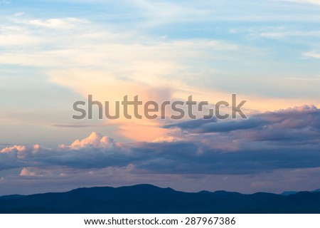 colorful sky and clouds and sunset - stock photo