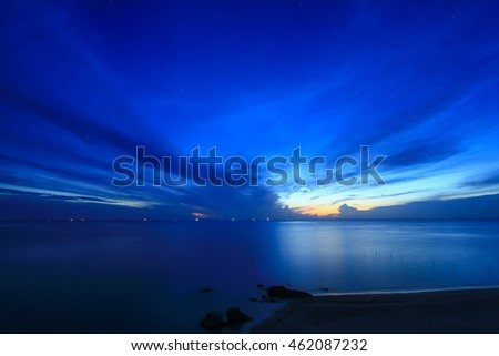 Colorful sky and colorful water in lake reflected in morning time before sunrise