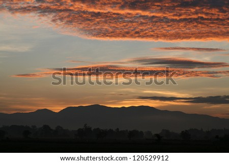 colorful sky and mountain background : just before sunrise