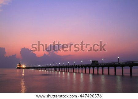 Colorful sky and water in lake reflected in morning time before sunrise