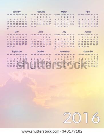 colorful sky calendar 2016 - stock photo
