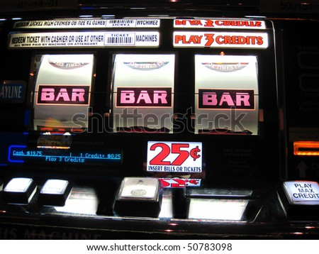 colorful slot machine paying off to show three bars which equals money - stock photo