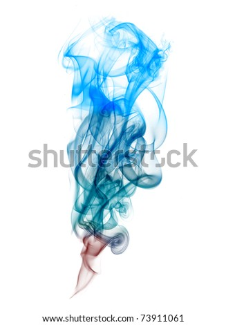 Colorful smoke isolated on white - stock photo