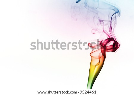 Colorful smoke on white background - stock photo