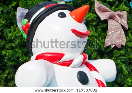 Colorful snowman statue