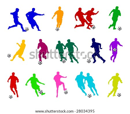 colorful soccer silhouettes