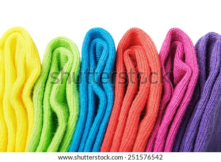 colorful socks isolated on white background. Focus on the top of the sock - stock photo