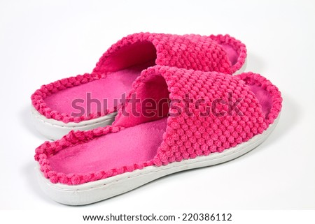 Colorful soft comfortable and warm women slippers - stock photo