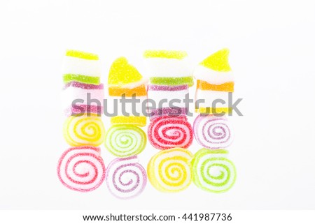 Colorful soft jelly gelatin candy isolated on white background - stock photo