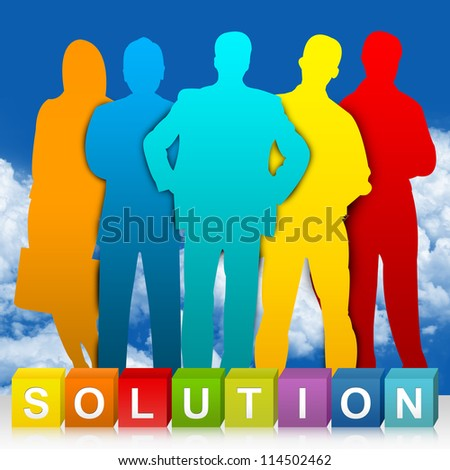 Colorful Solution Cube Box And Colorful Businessman For Business Concept In Blue Sky Background - stock photo