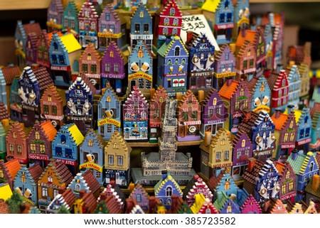 Colorful souvenir miniature of Bruges' houses - stock photo
