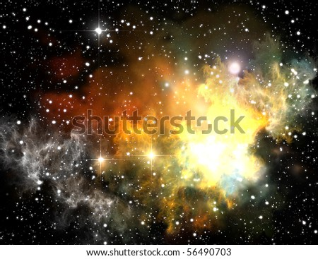 Colorful space nebula ( abstract universe background ) - stock photo
