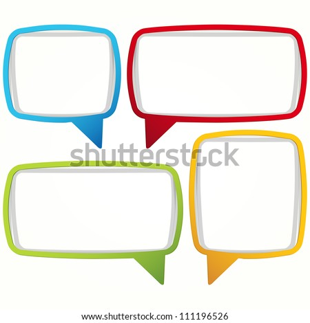 Colorful speech bubble frames. Labels in the form of an empty frame for your text. - stock photo