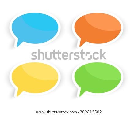 Colorful speech text bubbles illustration - stock photo