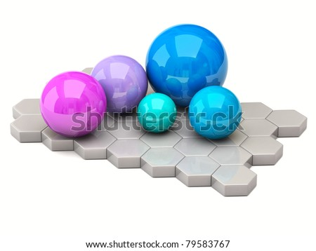 Colorful spheres isolated on white background - stock photo