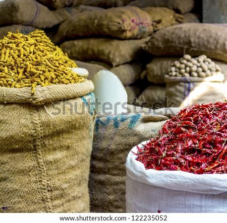 Colorful spice market in Old Dhaka, Bangladesh - stock photo
