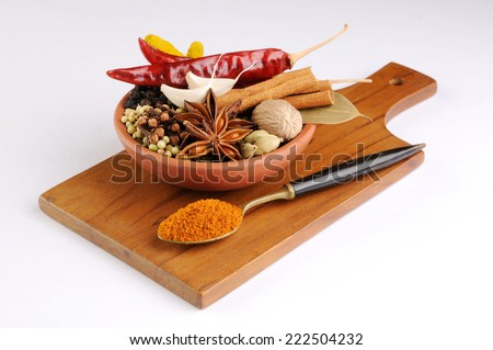 Colorful spices for garam masala indian,ingredients for garam masala , indian spice mix with Powder - stock photo