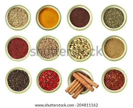 colorful spices in dish close up , top view, isolated on white background - stock photo