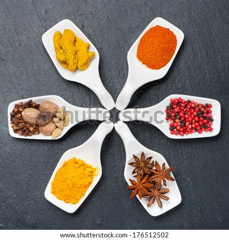 Colorful spices in the serving spoons on the chalkboard - stock photo